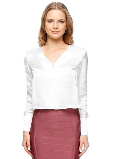 Endless Rose Uzun Kollu V Yaka Gömlek Beyaz